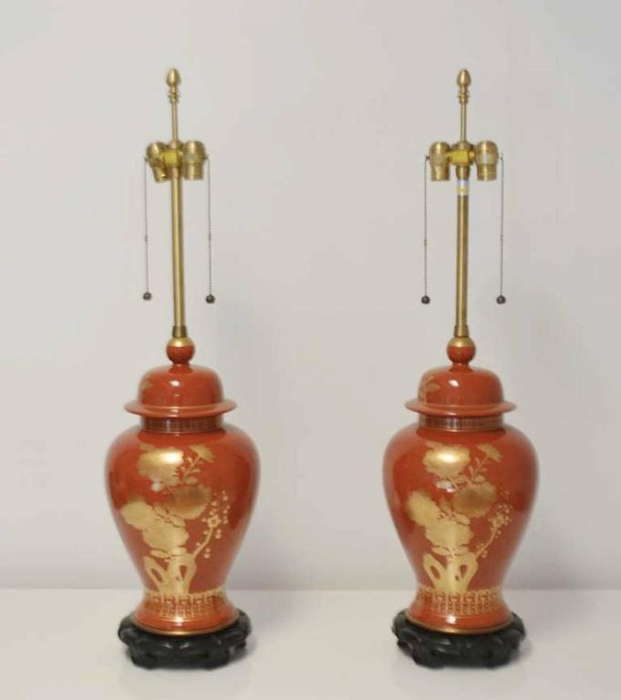 Pair of Hollywood Regency Ceramic Jar Form Table Lamps In Excellent Condition For Sale In West Palm Beach, FL