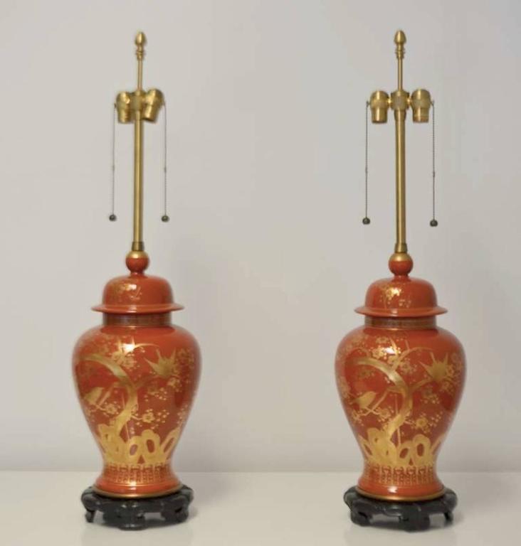 American Pair of Hollywood Regency Ceramic Jar Form Table Lamps For Sale