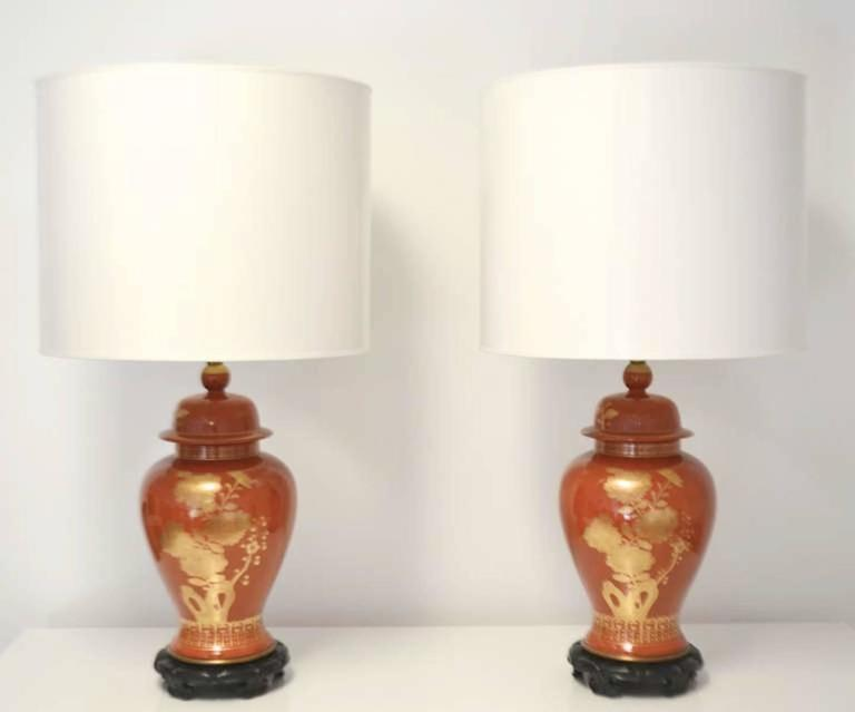 Pair of Hollywood Regency Ceramic Jar Form Table Lamps For Sale 2