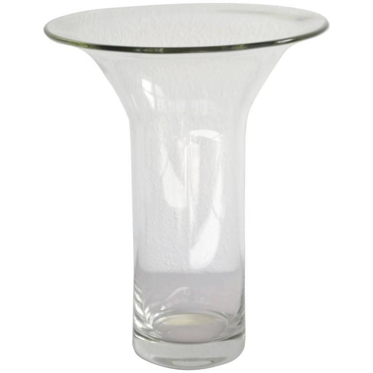 Crystal Midcentury French Blown Glass Vase For Sale