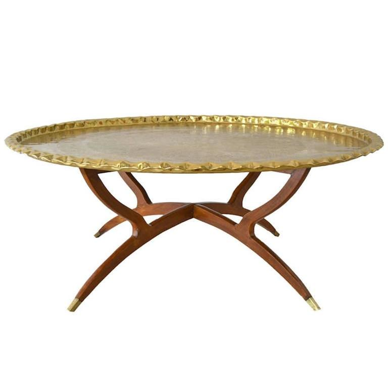 Mid-Century Round Brass Tray Top Coffee Table