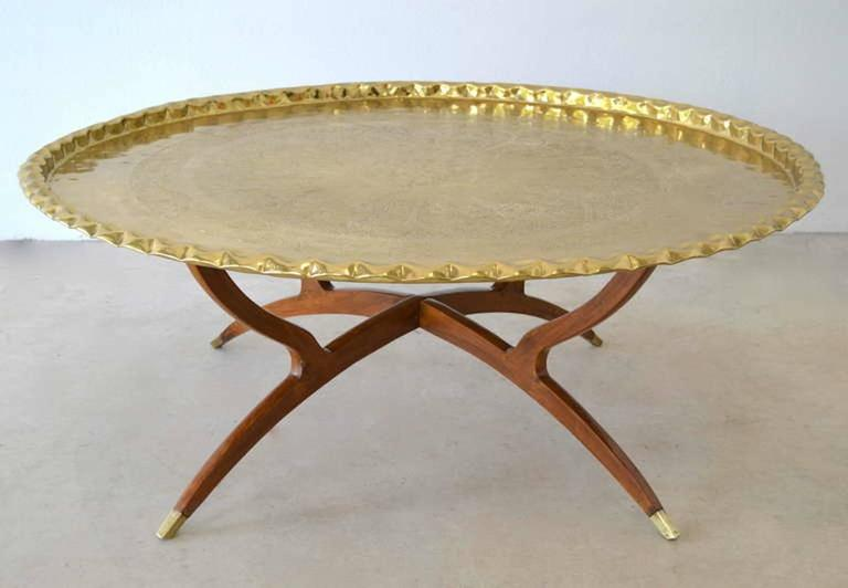 Mid-Century Modern Mid-Century Round Brass Tray Top Coffee Table For Sale