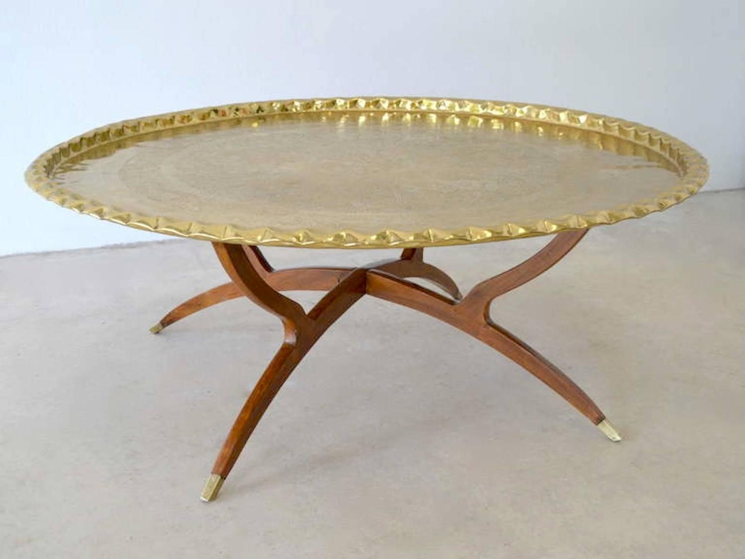 Mid Century Round Brass Tray Top Coffee Table For Sale At 1stdibs