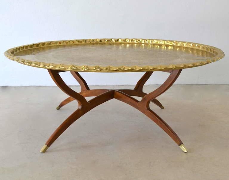 Mid-20th Century Mid-Century Round Brass Tray Top Coffee Table For Sale