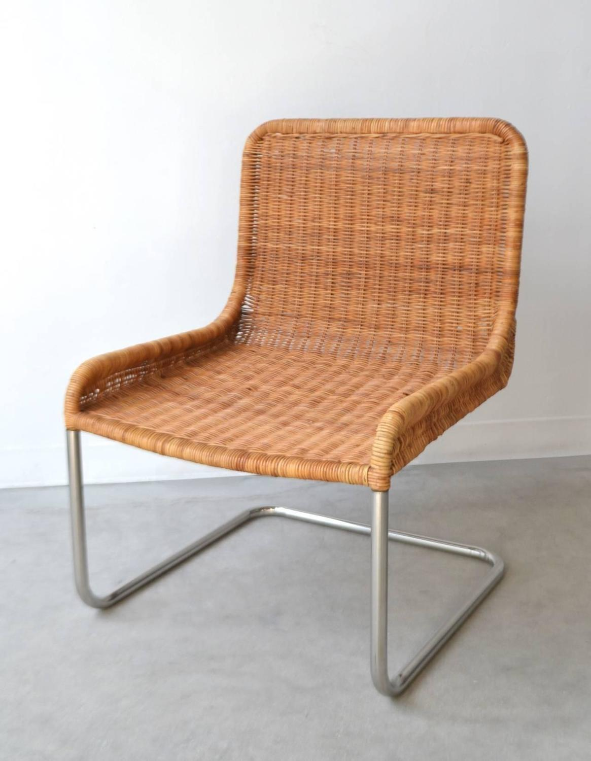 Mid Century Woven Rattan And Leather Occasional Chair For Sale At 1stdibs