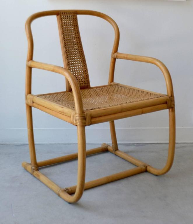 Mid Century Modern Mid Century Bent Bamboo Occasional Chair For Sale