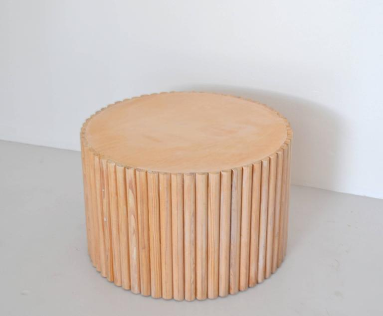 Post Modern Wood Furniture post-modern wooden drum form side table for sale at 1stdibs