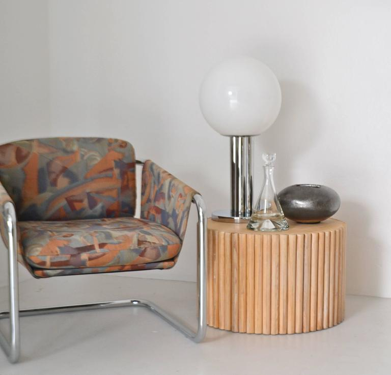 Postmodern Wooden Drum Form Side Table at 1stdibs