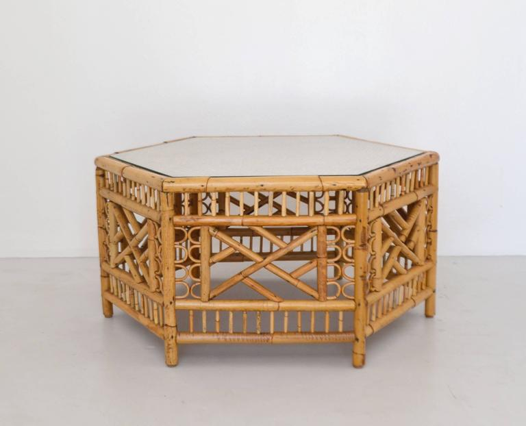 Mid-Century Modern Mid-Century Bamboo Coffee Table For Sale