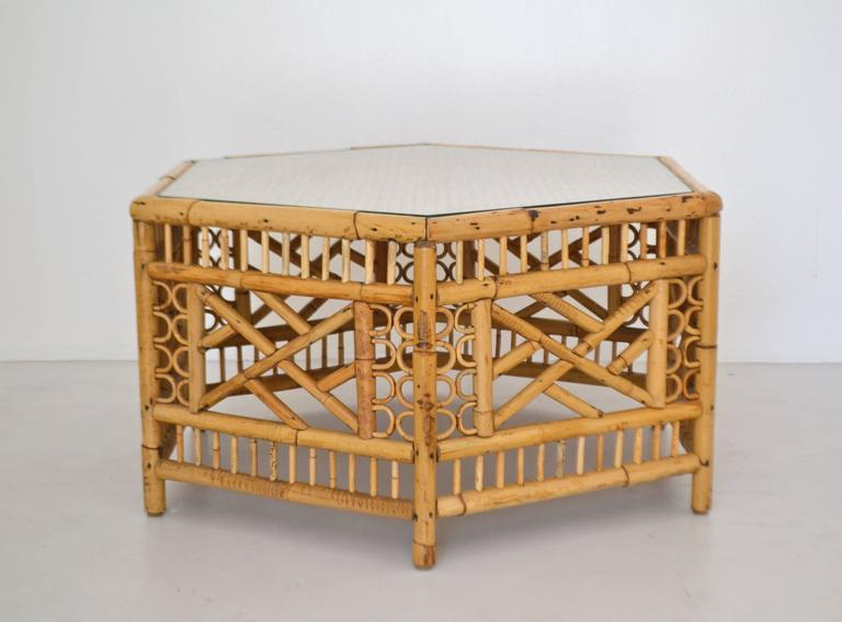 American Mid-Century Bamboo Coffee Table For Sale