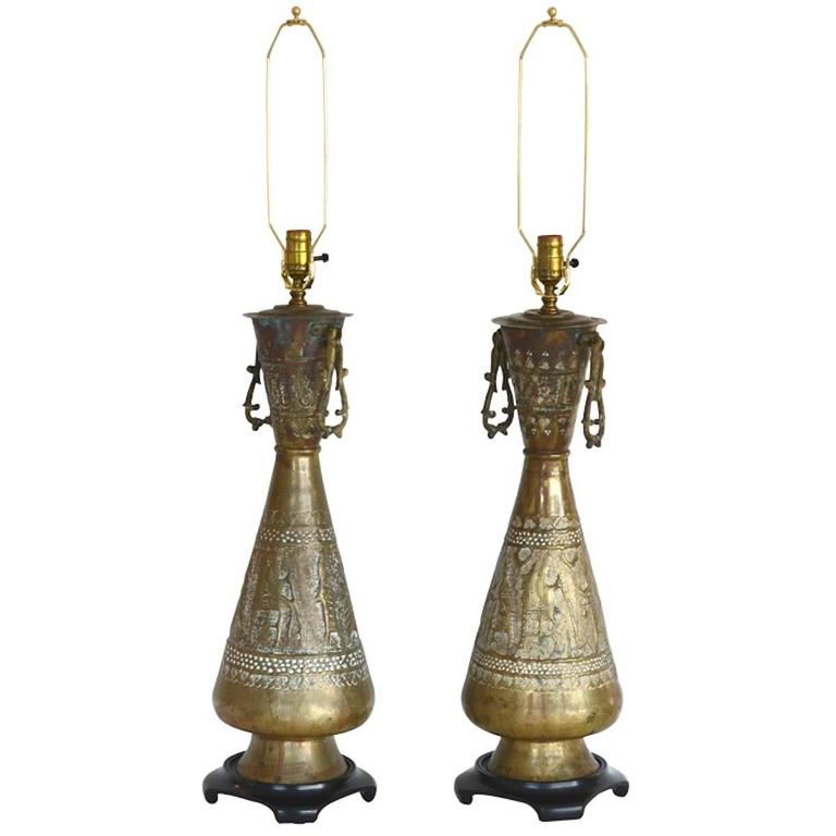 American Pair of Mid-Century Brass Table Lamps For Sale