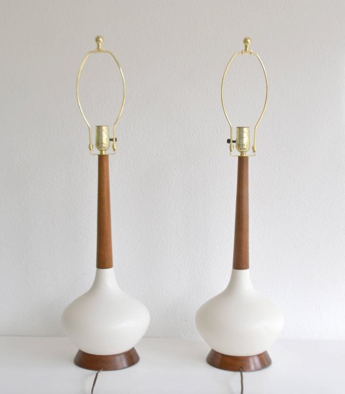 American Pair of Mid-Century Ceramic Table Lamps For Sale