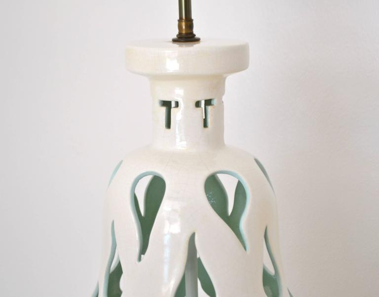 Mid Century Blanc De Chine Crackle Glazed Table Lamp For