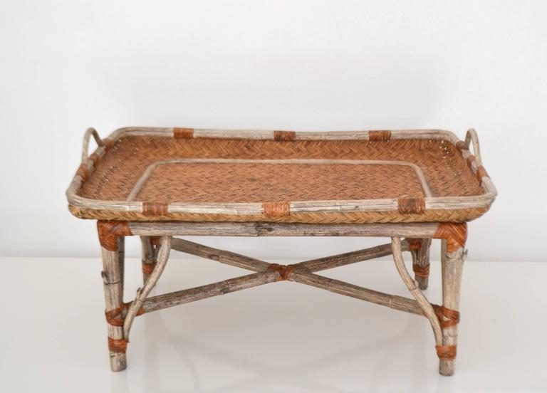 Mid-Century Modern Mid-Century Woven Rattan Tray Top Cocktail Table For Sale