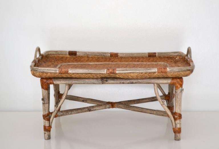 Mid-Century Woven Rattan Tray Top Cocktail Table For Sale 4