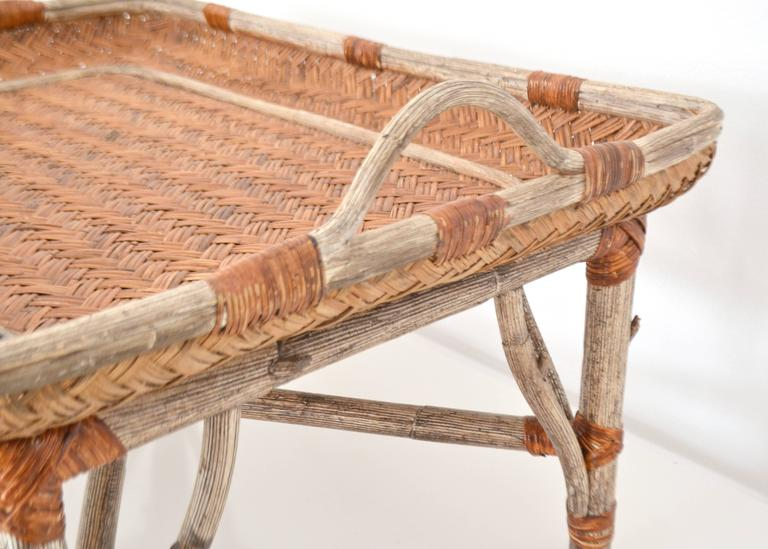 Mid-Century Woven Rattan Tray Top Cocktail Table 8