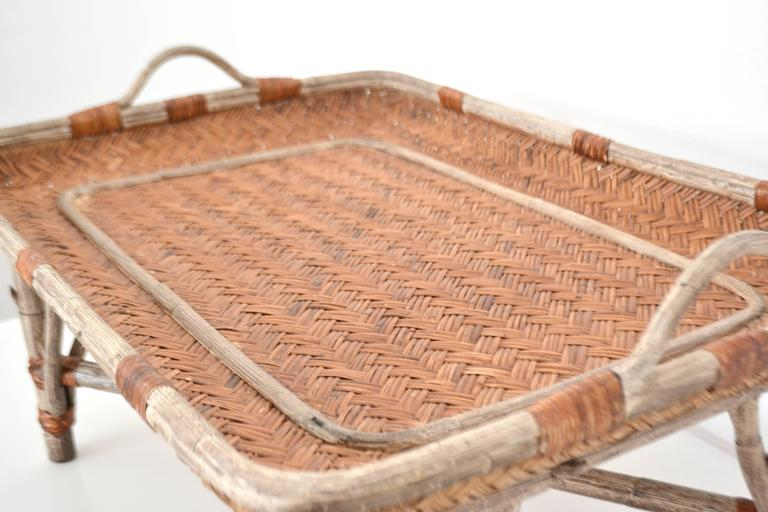 Mid-Century Woven Rattan Tray Top Cocktail Table For Sale 1