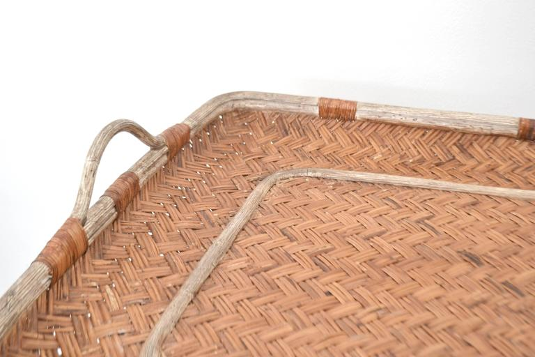 Mid-Century Woven Rattan Tray Top Cocktail Table For Sale 3