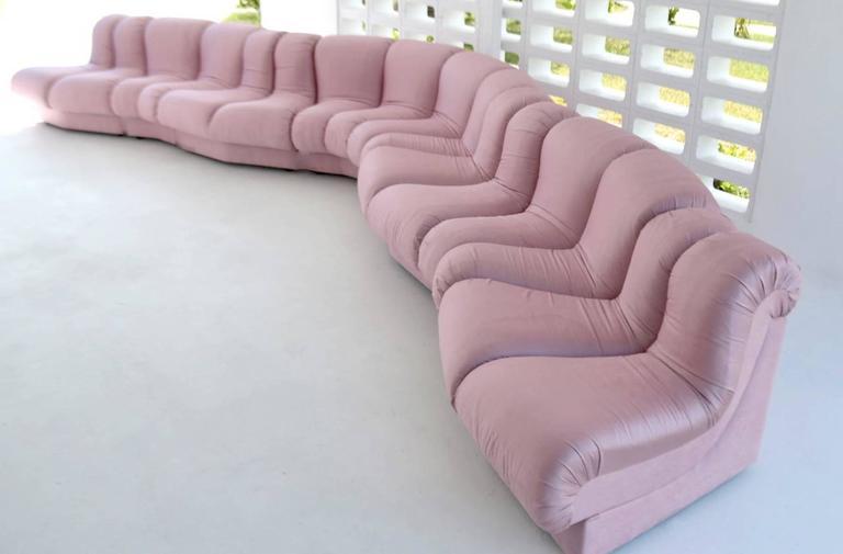 Post-Modern Eight-Piece Serpentine Sectional Sofa 2