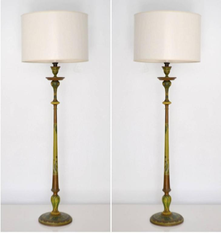 Pair Of Venetian Hand Painted Carved Wood Candlestick Table Lamps In  Excellent Condition For Sale