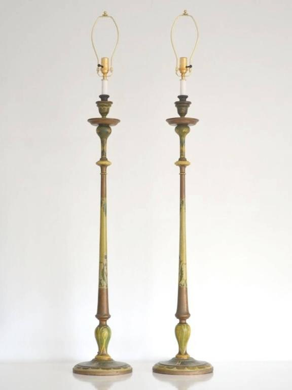 Pair of venetian hand painted carved wood candlestick table lamps stunning pair of venetian hand painted carved wood candlesticks table lamps circa 1920s greentooth Choice Image