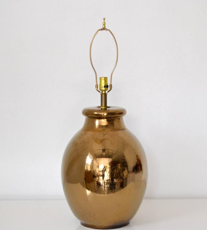 Mid-Century Modern Mid-Century Gilt Crackle Glazed Ceramic Jar Form Table Lamp For Sale