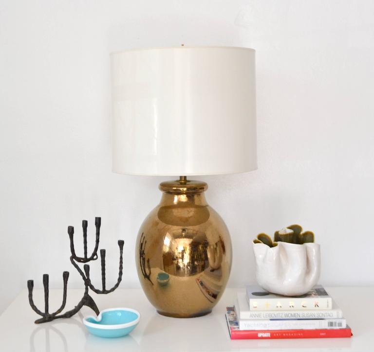 Brass Mid-Century Gilt Crackle Glazed Ceramic Jar Form Table Lamp For Sale