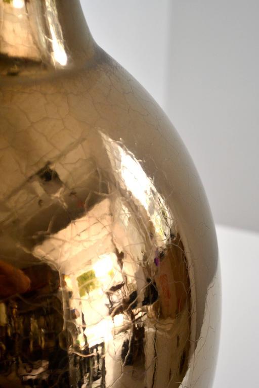 Mid-20th Century Mid-Century Gilt Crackle Glazed Ceramic Jar Form Table Lamp For Sale