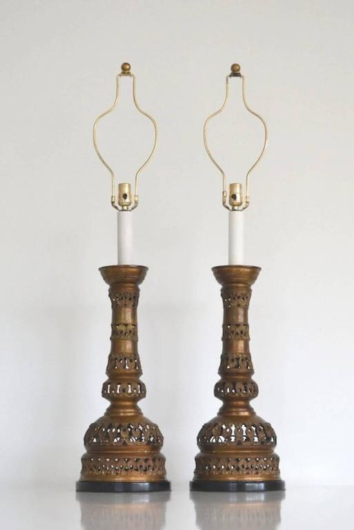 Mid-Century Modern Pair of Midcentury Brass Candlestick Table Lamps For Sale