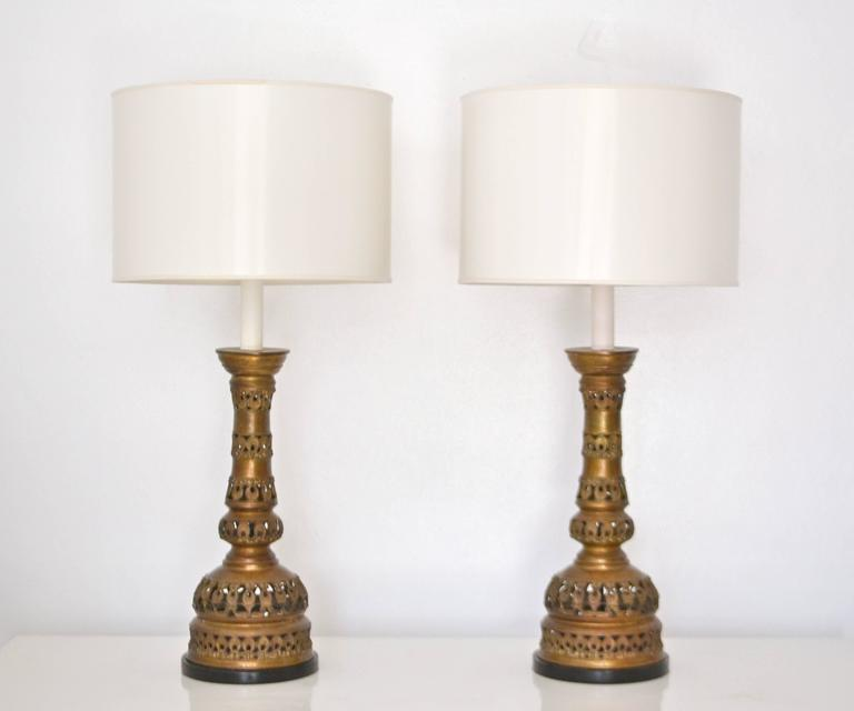 Metal Pair of Midcentury Brass Candlestick Table Lamps For Sale