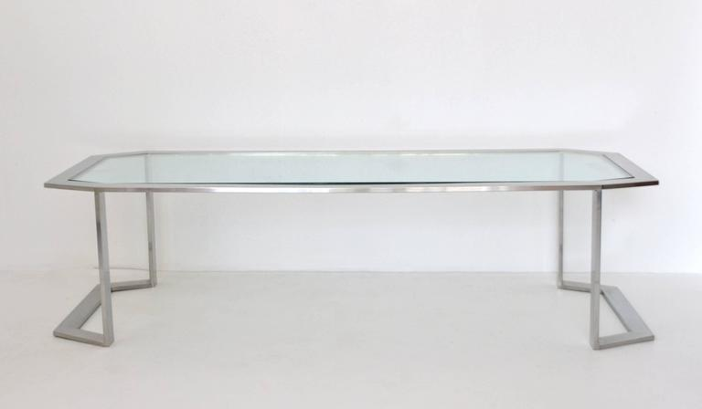 Post-Modern Postmodern Chrome and Brass Coffee Table For Sale