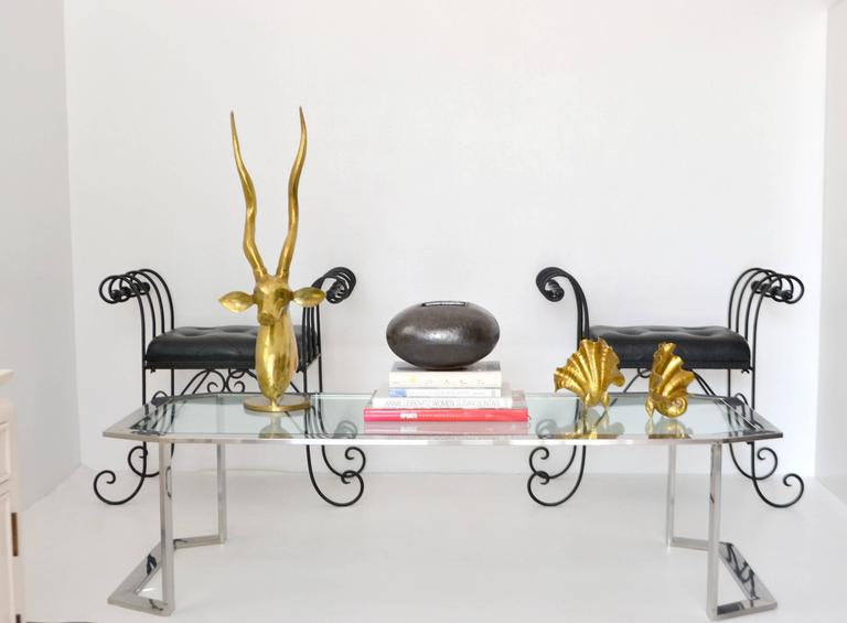 Postmodern Chrome and Brass Coffee Table For Sale 3