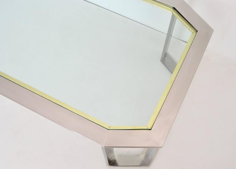 Postmodern Chrome and Brass Coffee Table For Sale 1