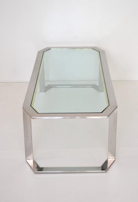 Postmodern Chrome and Brass Coffee Table In Excellent Condition For Sale In West Palm Beach, FL