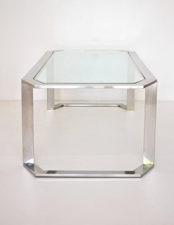 Late 20th Century Postmodern Chrome and Brass Coffee Table For Sale