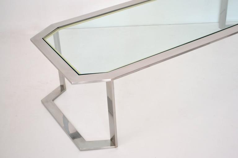 Postmodern Chrome and Brass Coffee Table For Sale 2