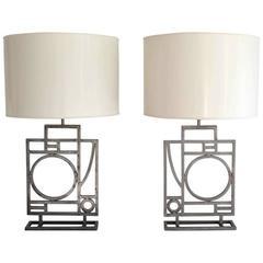 Pair of Post-Modern Geometrical Form Table Lamps by Robert Sonneman
