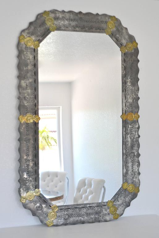 Midcentury Etched Metal Wall Mirror In Good Condition For Sale In West Palm Beach, FL