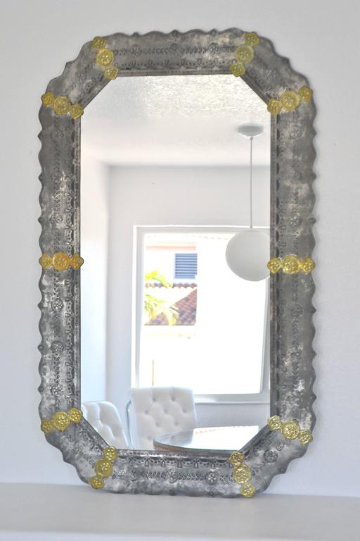 Mid-Century Modern Midcentury Etched Metal Wall Mirror For Sale
