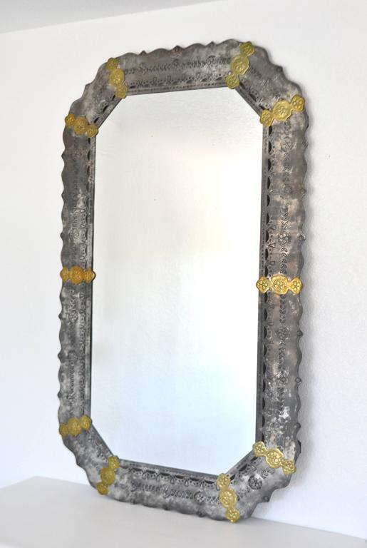 North American Midcentury Etched Metal Wall Mirror For Sale