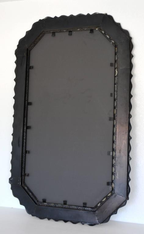 Midcentury Etched Metal Wall Mirror For Sale 2