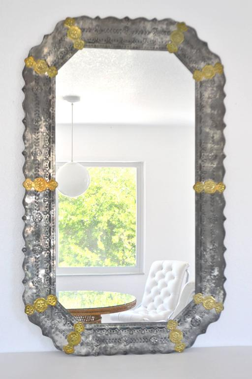 Midcentury Etched Metal Wall Mirror For Sale 3