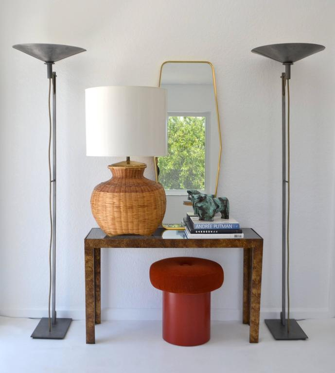 Stunning Mid-Century natural woven rattan basket form table lamp, circa 1960s-1970s. Shade not included.