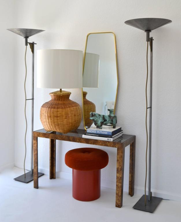 Mid-Century Woven Rattan Basket Form Table Lamp For Sale 2