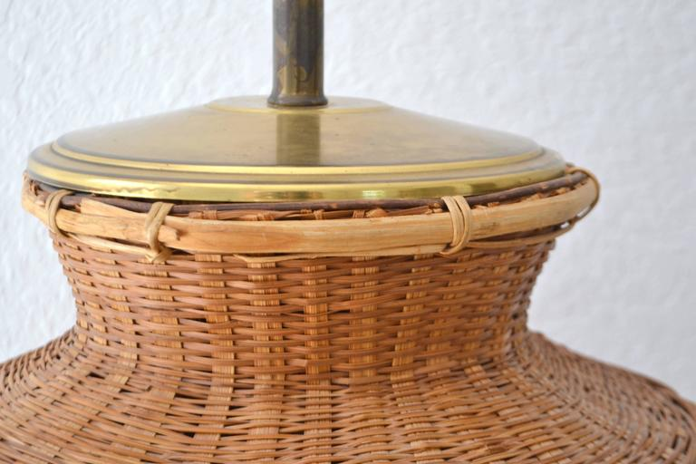 Mid-20th Century Mid-Century Woven Rattan Basket Form Table Lamp For Sale