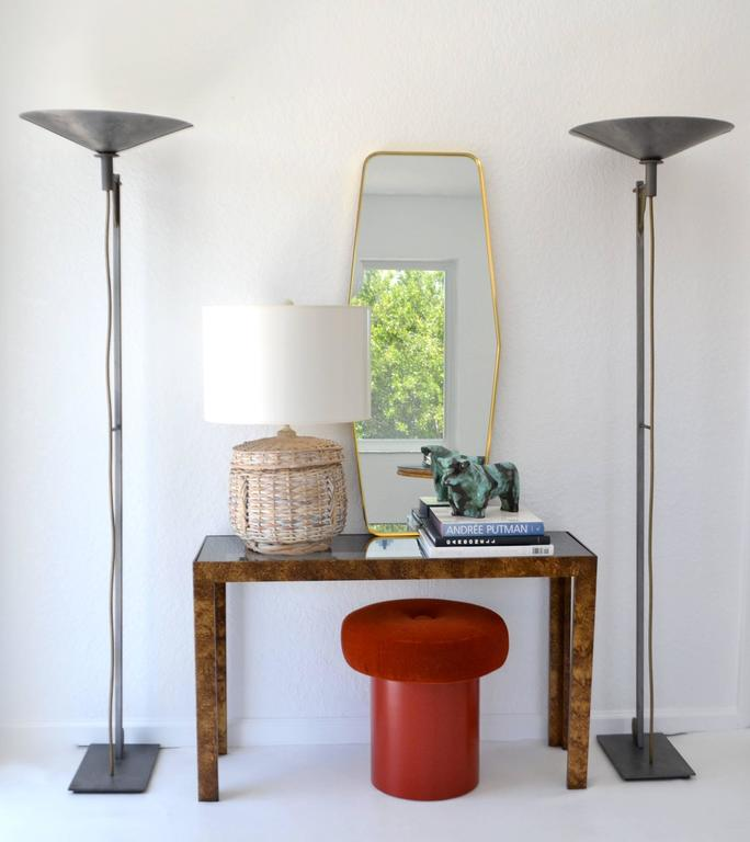 Striking Mid-Century whitewashed woven rattan basket form table lamp, circa 1960s - 1970s. Shade not included. Measurements: The height from the base to the top of the harp is 26