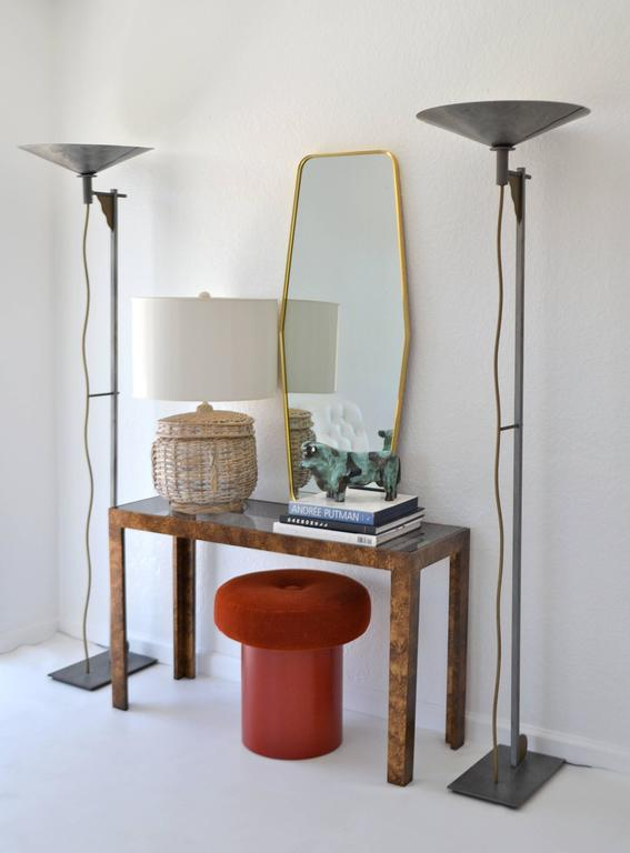 Brass Mid-Century Whitewashed Woven Rattan Basket Form Table Lamp For Sale