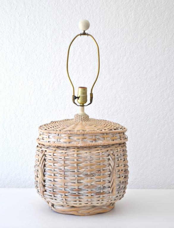 Mid-Century Modern Mid-Century Whitewashed Woven Rattan Basket Form Table Lamp For Sale