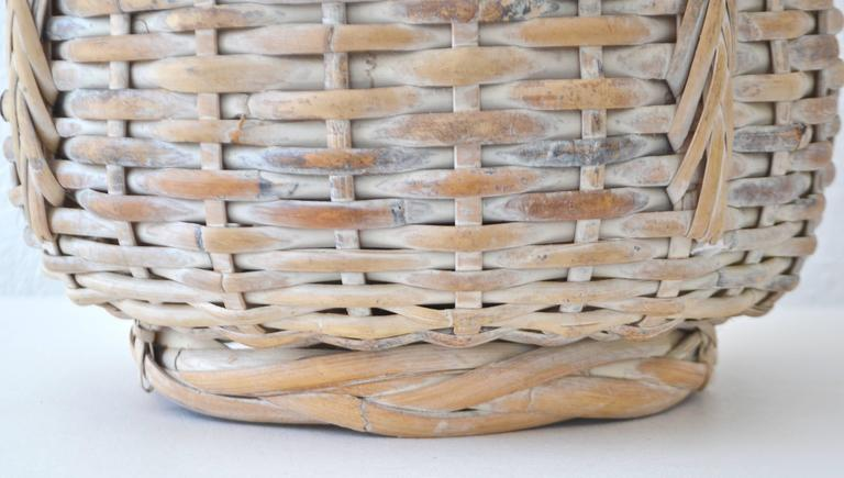 Mid-20th Century Mid-Century Whitewashed Woven Rattan Basket Form Table Lamp For Sale