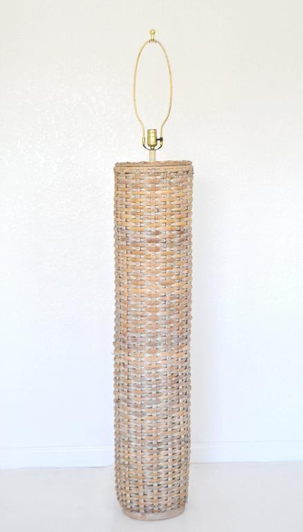 Mid Century Woven Rattan Cylinder Form Floor Lamp For Sale